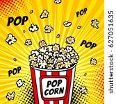 pop art fast food in the cinema.... | Shutterstock .eps vector #627051635