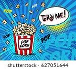 pop art fast food in the cinema.... | Shutterstock .eps vector #627051644