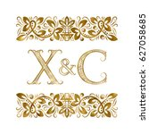 x and c vintage initials logo... | Shutterstock .eps vector #627058685