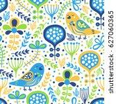 bird seamless pattern with... | Shutterstock .eps vector #627060365