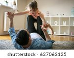 father and daughter spending... | Shutterstock . vector #627063125