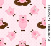 seamless pattern with cute... | Shutterstock .eps vector #627064889
