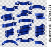 blue web ribbons set  vector... | Shutterstock .eps vector #627066731