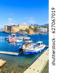 boats in a port in kyrenia ... | Shutterstock . vector #627067019