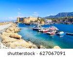 boats in a port in kyrenia ... | Shutterstock . vector #627067091