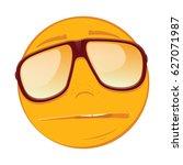 emoticon sad in a sunglasses on ... | Shutterstock .eps vector #627071987