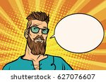 hipster is thinking about... | Shutterstock .eps vector #627076607