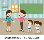 mother take their children to... | Shutterstock .eps vector #627078605