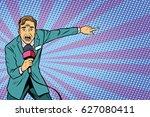 frightened tv reporter  crime... | Shutterstock .eps vector #627080411
