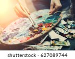 artist's palette  close up.... | Shutterstock . vector #627089744