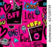 abstract seamless girlish... | Shutterstock .eps vector #627100739