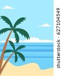 tropical summer beach poster...   Shutterstock .eps vector #627104549