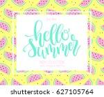 hello summer hand lettering... | Shutterstock .eps vector #627105764