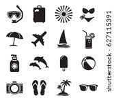 summer icon set. black on a... | Shutterstock .eps vector #627115391