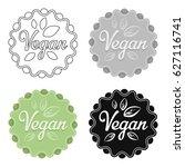 vegan icon in cartoon style... | Shutterstock .eps vector #627116741