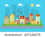 urban and village landscape.... | Shutterstock . vector #627120275