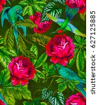 amazing tropical pattern with... | Shutterstock . vector #627125885