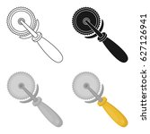pizza cutter icon in cartoon... | Shutterstock .eps vector #627126941