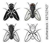 fly icon in cartoon style... | Shutterstock .eps vector #627127427