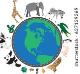 around the world | Shutterstock .eps vector #627129269