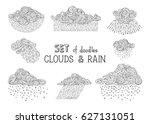 vector set of doodles clouds... | Shutterstock .eps vector #627131051
