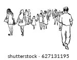 crowd walking ink sketch on... | Shutterstock . vector #627131195