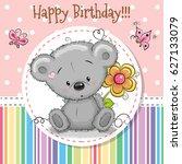greeting card cute teddy bear... | Shutterstock .eps vector #627133079
