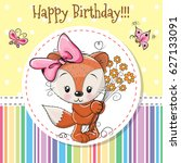 greeting card cute cartoon fox... | Shutterstock .eps vector #627133091