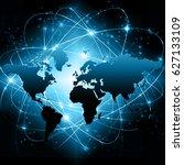world map on a technological... | Shutterstock . vector #627133109