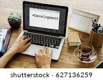 computer screen with window... | Shutterstock . vector #627136259