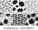 a set of 6 hand painted floral... | Shutterstock .eps vector #627138071