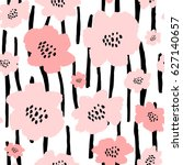Stock vector seamless repeat pattern with flowers in black and pastel pink on white background hand drawn 627140657