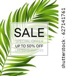 sale banner or poster with palm ... | Shutterstock .eps vector #627141761
