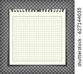 empty checkered note book page... | Shutterstock .eps vector #627144035