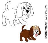coloring page little dog... | Shutterstock .eps vector #627148691