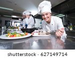 chefs cooking  cutting and... | Shutterstock . vector #627149714