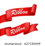 red ribbon banner | Shutterstock . vector #627150449