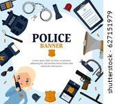 creative frame on police theme. ... | Shutterstock .eps vector #627151979