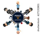 police people standing a banner.... | Shutterstock .eps vector #627152801