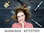 happy smiling young woman in...   Shutterstock . vector #627157355