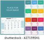 english planning calendar 2018  ... | Shutterstock .eps vector #627159041