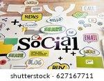 social media and social network.... | Shutterstock . vector #627167711