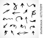 hand drawn arrows  vector set | Shutterstock .eps vector #627170399