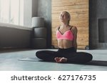 young slim blond woman in yoga... | Shutterstock . vector #627176735