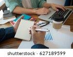 business team analyzing... | Shutterstock . vector #627189599