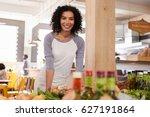 portrait of female owner of... | Shutterstock . vector #627191864