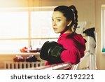 portrait of beautiful boxing... | Shutterstock . vector #627192221