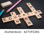 wood block education word over... | Shutterstock . vector #627192281