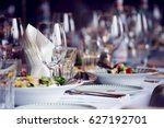 served for a banquet catering... | Shutterstock . vector #627192701