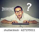 man typing on the keyboard... | Shutterstock . vector #627195011